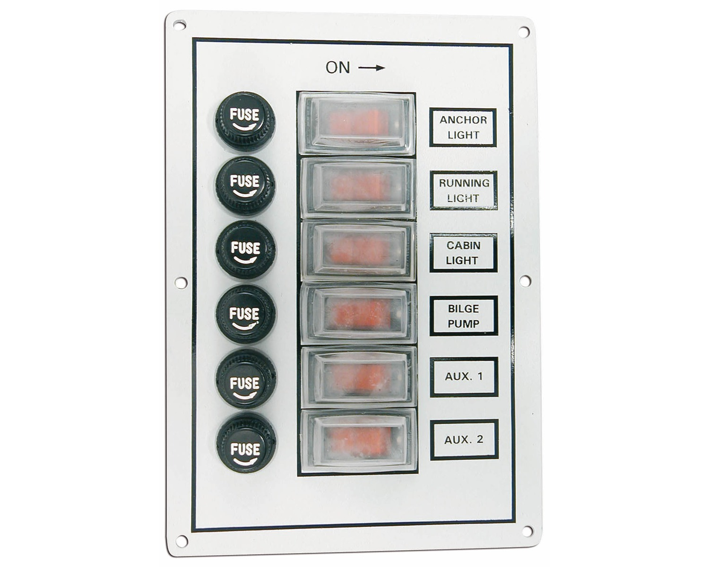 tableau lectrique de cabine 6 interrupteurs tableaux lectriques bigship accastillage. Black Bedroom Furniture Sets. Home Design Ideas