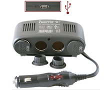 Multiprise allume-cigare 4 sorties 120 watts + USB 5V/1A