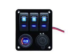 BIGSHIP Tableau électrique 12V 3 inter. LED +USB+voltmètre