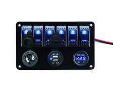 BIGSHIP Tableau électrique 12V 6 inter. LED +USB+voltmètre