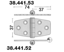 BIGSHIP Charnière inox 74x37mm