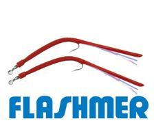 FLASHMER Anguillons caoutchouc 3/0 rouge les 2