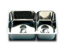 BARKA Evier double en inox flasque plat
