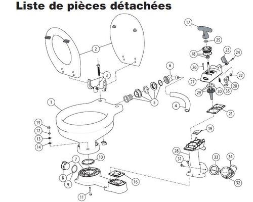 JABSCO Kit joint et visserie pour WC manuel