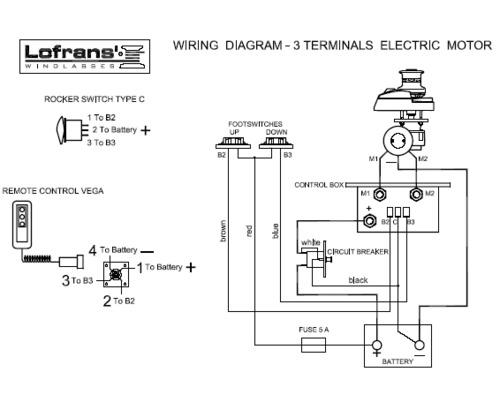 Lofrans bo tier relais 3 fils 12v 500 1700w commandes guindeaux bigship accastillage - Branchement luminaire 3 fils ...
