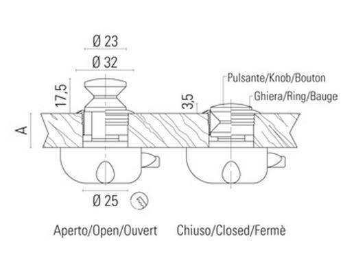 BIGSHIP Bouton poussoir 19mm pour mecanisme 1303087