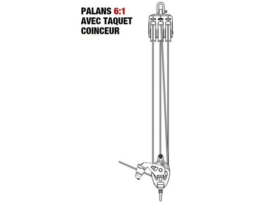 SELDEN Palan 6:1 à friction Ø50mm + cordage Ø10mm x 30m