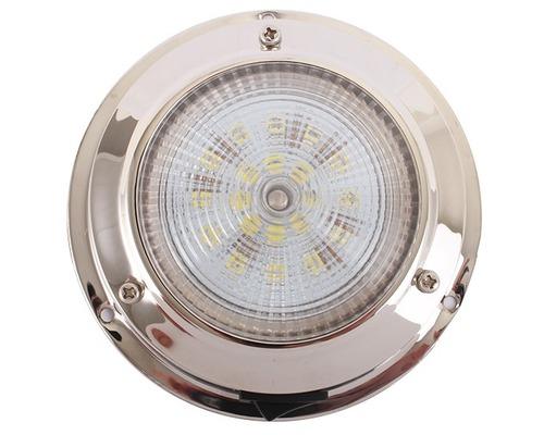 Plafonnier LED inox Ø ext. 110mm Ø verre 93mm