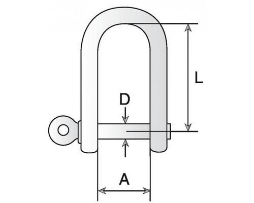BIGSHIP Manille droite marquée galvanisée à chaud Ø10mm