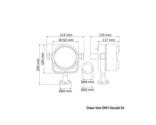 OSCULATI Projecteur 24V 100W support plat-pont