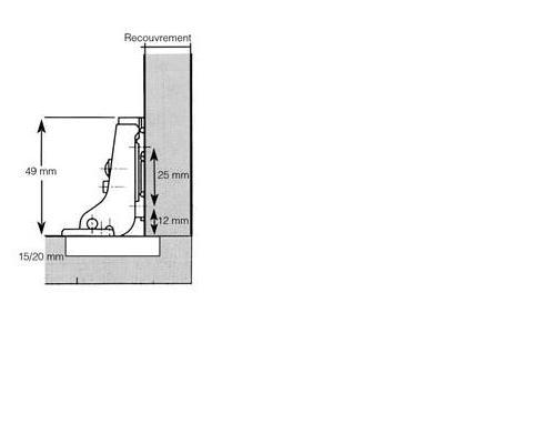 PLASTIMO CHARNIERE INVISIBLE RECOUVR.14MM+CALE
