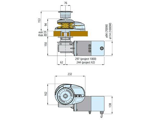 LOFRANS X2 1000W 12V barb. mixte Ø8mm (ISO4565 - cord. 14mm)