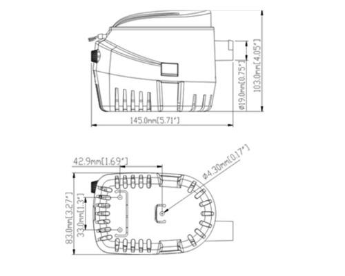 Pompe immergeable automatique 750GPH - 12V