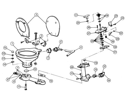 JABSCO Joint-tige WC manuel après 1998